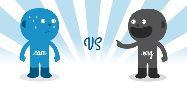 wordpress.org vs wordpress.com dibujados como dos personas, negro y azul respectivamente. Org se ríe de com