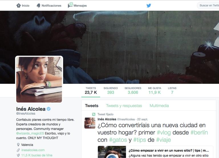 ejemplo de cuenta de twitter verificada, cuenta de Inés Alcolea de twitter