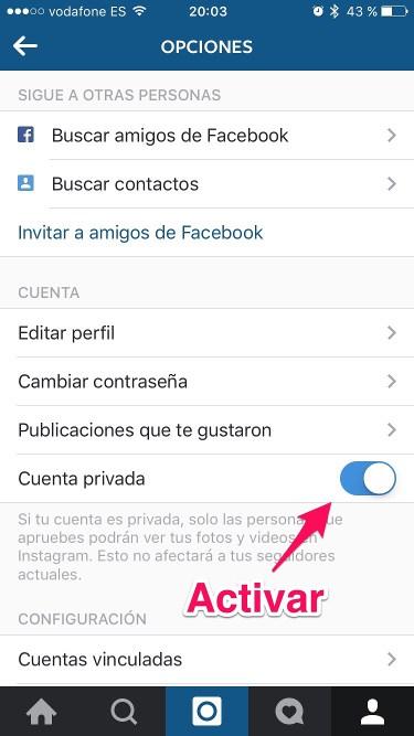 privatizar la cuenta en instagram